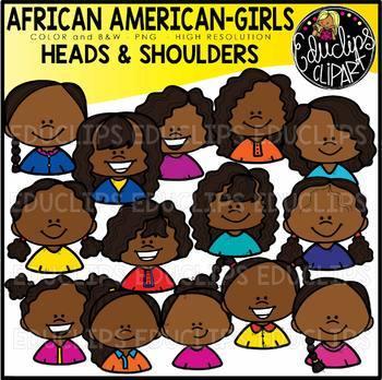 African American Girls Heads & Shoulders Clip Art Set {Educlips Clipart}