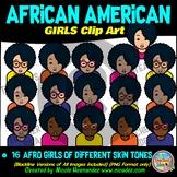 African American GIRLS Heads & Shoulders Clip Art Set for Teachers
