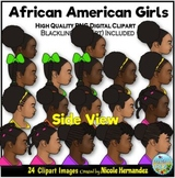 African American Girls (SIDE Portraits) Clip Art for Perso