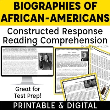 Constructed Response Passages with Text Evidence: Black History Month