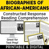 Constructed Response Passages with Text Evidence: Black History Month Test Prep