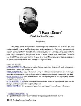 """African American History Close Reads """"I Have a Dream"""""""