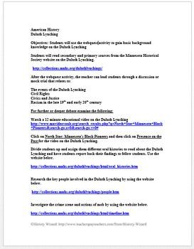 African American History: Duluth Lynchings Webquest