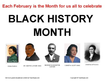 African American History Month  Black History Month  Poster Sign for Classroom