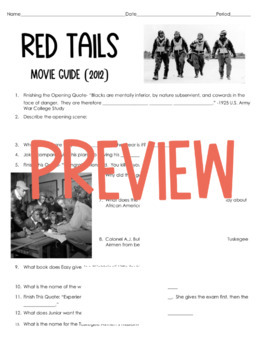 African American History- Red Tails Movie Guide (2012)