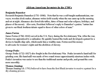 African American Inventors in the 1700's
