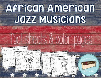 African American Jazz Musicians Color Page Foldable Information Sheets