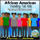 African American  Kids Standing Clip Art for Personal and