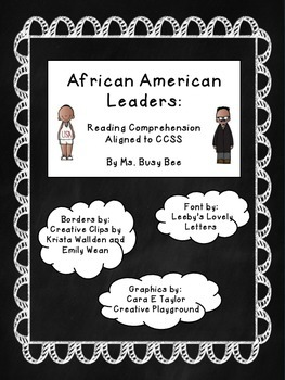African American Leaders Reading Activity- CCSS Aligned