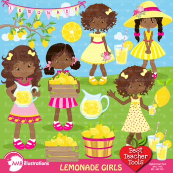 Lemonade Stand Clipart, African American Clipart, Clip Art, AMB-897