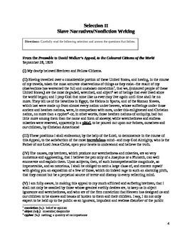 African-American Literature Exam (Reading Comprehension)