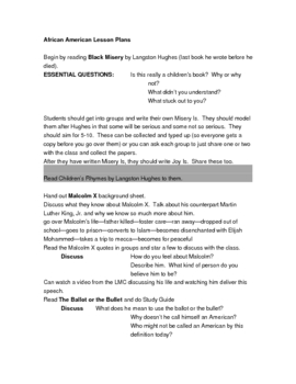African American Literature Lesson Plans