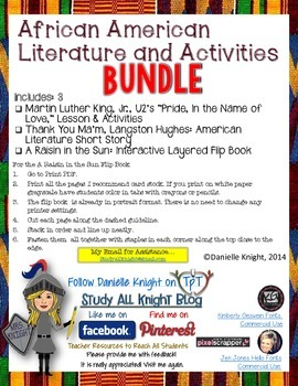 BLACK HISTORY MONTH, AFRICAN AMERICAN LITERATURE GUIDES AND ACTIVITIES BUNDLE