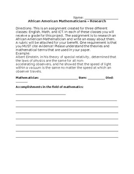 African American Mathematician Research Essay