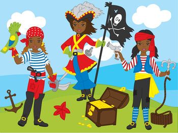African American Pirate Girl Clipart - Digital Vector Pira
