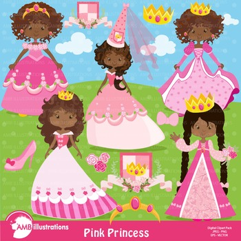 Princess Clipart, African American Princesses in Pink clipart AMB-898