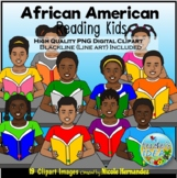 African American Reading Kids Clip Art for Personal and Co