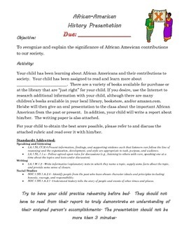 African American Report with Rubric - 1st/2nd Grade