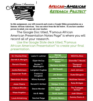 African American Research Project (Google Docs & Slides)