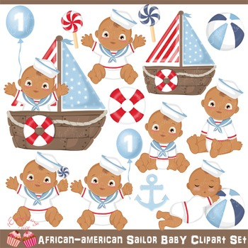 African-American Sailor Baby Clipart Set
