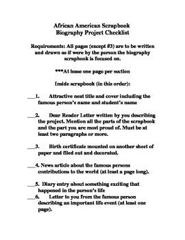 African American Scrapbook  Biography Project