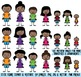 African American Stick Figure Family Clipart, Stick People