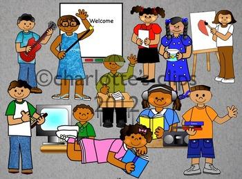 African American Student Clipart for School including EEKK