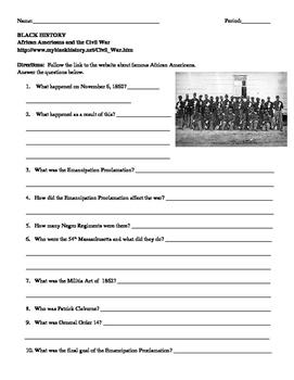 African American Studies 10 Internet Assignment the Civil War