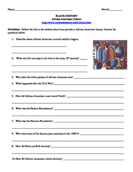 African American Studies 21 Internet Assignment Culture