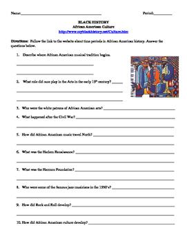 African American Studies 21 Internet Assignment Culture