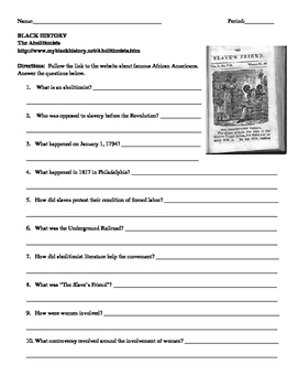 African American Studies 9 Internet Assignment The Abolitionists