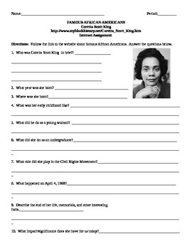 African American Studies Internet Assignment Coretta Scott King