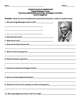 African American Studies Internet Assignment George Washington Carver