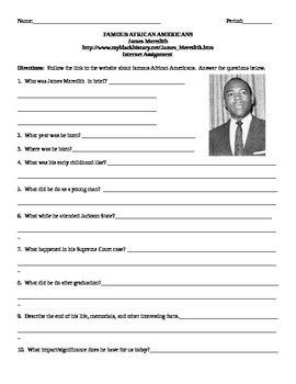 African American Studies Internet Assignment James Meredith