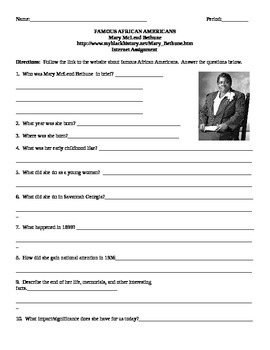 African American Studies Internet Assignment Mary McLeod Bethune
