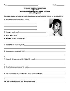 African American Studies Internet Assignment Medgar Evers