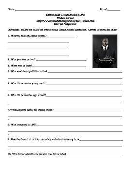 African American Studies Internet Assignment Michael Jordan