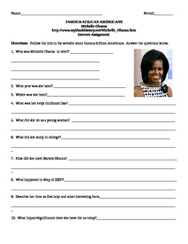 African American Studies Internet Assignment Michelle Obama