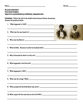 African American Studies 8 Internet Assignment Dred Scott