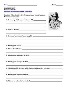African American Studies 7 Internet Assignment Nat Turner Rebellion