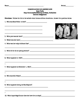African American Studies Internet Assignment Rosa Parks