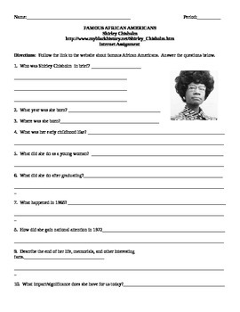 African American Studies Internet Assignment Shirley Chisholm