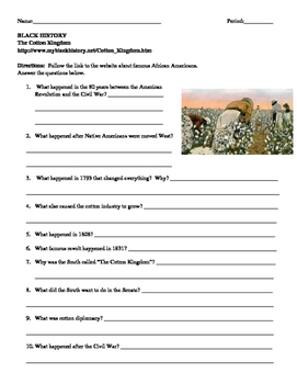 African American Studies 6 Internet Assignment The Cotton Kingdom
