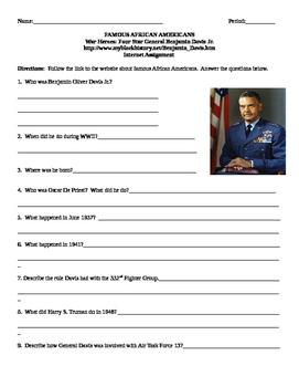 African American Studies Internet Assignment War Heroes General Benjamin Davis