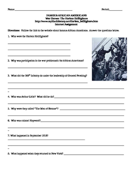 African American Studies Internet Assignment War Heroes Harlem Hellfighters