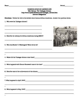 African American Studies Internet Assignment War Heroes Tuskegee Airmen