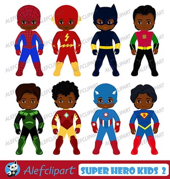 African American Superboy Clipart, Superhero Kids Costumes Clip Art.