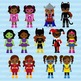 African American Supergirls Clipart