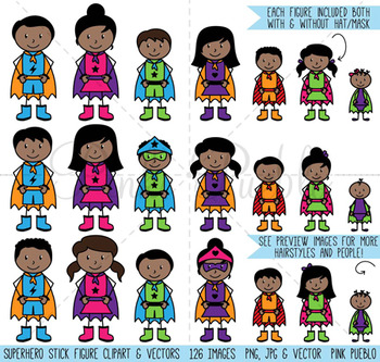 African American Superhero Stick Figure Clipart Clip Art, Stick People Clipart