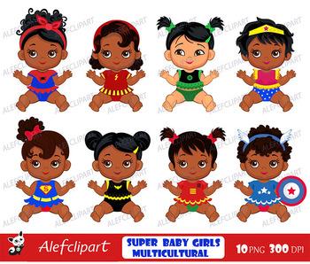 African American Superhero baby clipart ,Superhero Multicultural Baby  Clip Art.